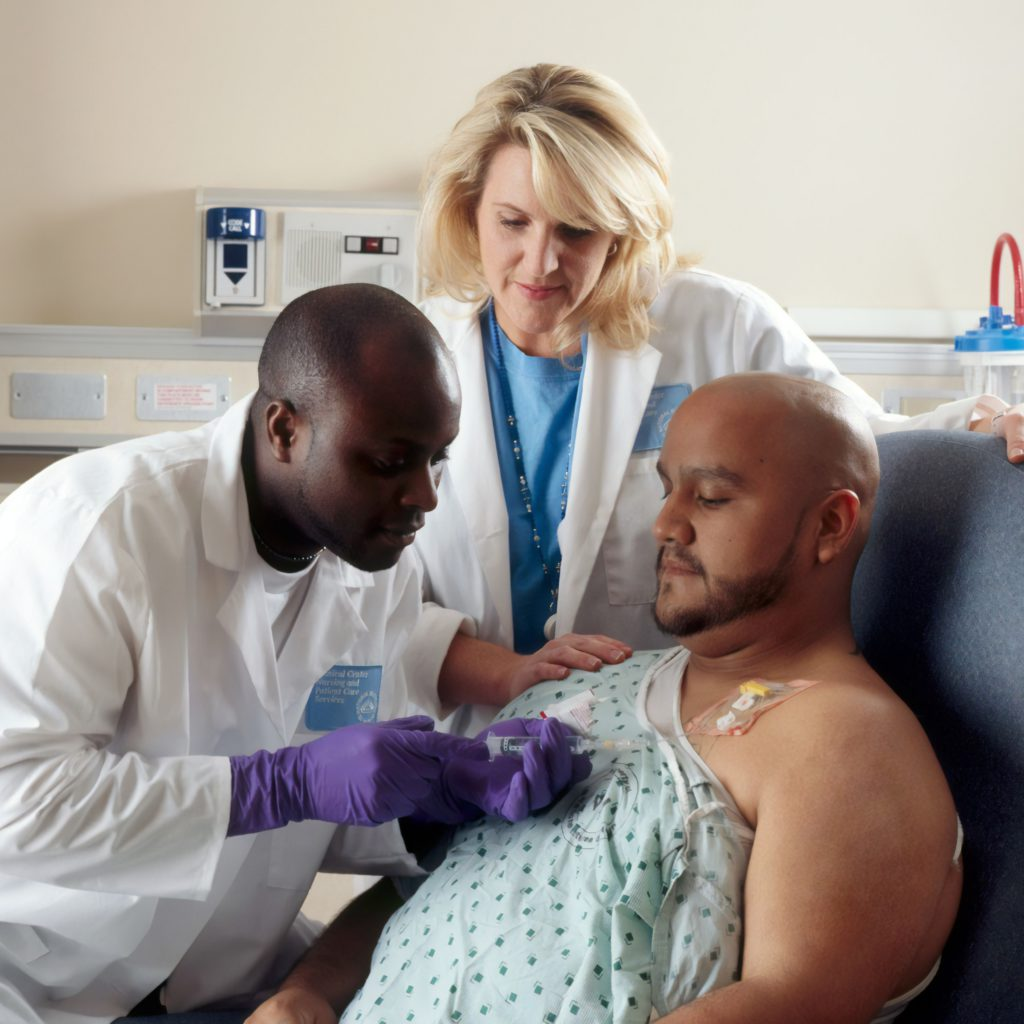 Patient in hospital receiving chemo